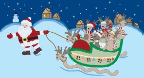 Christmas Night  - vector. Illustration of Santa Claus with Christmas deers - vector AI10 Royalty Free Stock Image