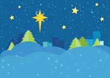 Christmas Night Vector Concept in Flat Design Royalty Free Stock Photos