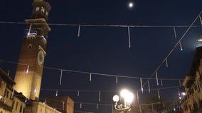 Christmas night in Verona,Italy stock video