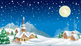 Christmas night in the village. In the mountains Royalty Free Stock Photos