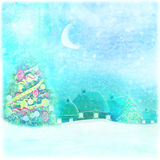 Christmas night in the village card Stock Photo