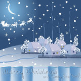 Christmas night in the village Stock Image