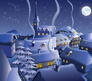 Christmas night in village Stock Photo