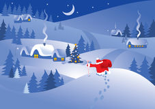 Christmas night village. Vector. Christmas night village in the ornate frame. Santa Claus comes to visit. Vector Stock Photo