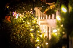 Christmas night walking royalty free stock photos