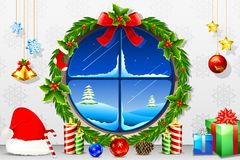 Christmas Night through Window Royalty Free Stock Photography