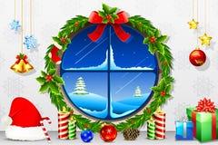 Christmas Night through Window. Illustration of view of christmas night through decorated window Royalty Free Stock Photography
