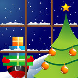 Christmas night through window Stock Photo