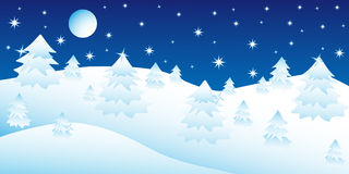 Christmas night in the winter forest Stock Image