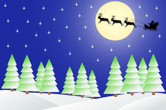 Christmas night in the winter forest. Royalty Free Stock Photo