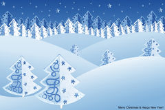Christmas night winter scene Royalty Free Stock Image