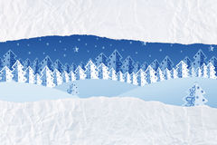 Christmas night winter scene as an unwrapped gift Stock Photo