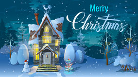 Christmas. Night of , Winter time, the Family house before a holiday. An illustration for card. New Year`s poster Stock Photo