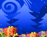Christmas night wit gifts. Blue christmast background abstract with colorful gifts on bottom Royalty Free Stock Images