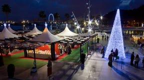 Christmas Nighttime at Malaga Waterfront Royalty Free Stock Photo
