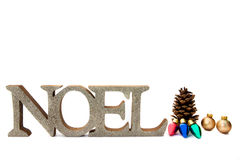 Christmas Noel Background. The word Noel with Christmas ornaments on a white background Stock Photography
