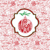 Christmas,Noel card.Doodle pattern background,label Royalty Free Stock Images