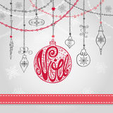 Christmas,Noel card with lettering ball,garlands,ribbon. Christmas,Joyeux Noel greeting card with ball,garlands,presents and ribbon.Ball with handwriting stock illustration