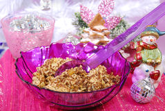 Christmas noodles with poppy seeds and raisins Royalty Free Stock Photos