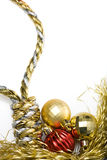 Christmas Noose. Noose made out of christmas rope, with baubles in the background, isolated on white Stock Photography