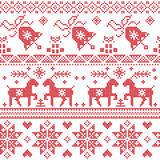 Christmas Nordic cross stitch pattern including reindeer, snowflake, star, Xmas tree, bell, presents in red vector illustration
