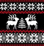 Christmas nordic pattern on black stock illustration
