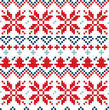 Christmas Nordic seamless pattern ( blue and red ) Stock Photo