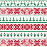 Christmas Nordic seamless pattern with men and women Stock Photography