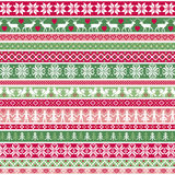 Christmas Nordic Stripe Border Patterns Royalty Free Stock Images