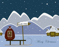 Christmas North Pole. Christmas greeting card with heartwarming winter North Pole and Santa's sledges Royalty Free Stock Photo