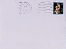 Christmas Note. Blank pink envelope with canceled Christmas stamp from Mansfield, Ohio Royalty Free Stock Images