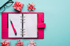 Christmas note book. With empty pages Stock Photos