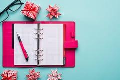 Christmas note book Stock Photos