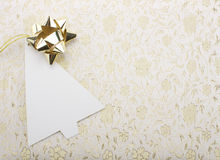 Christmas note card. Christmas blank card and bow - golden Stock Photography