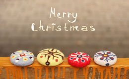 Christmas  note and ornaments. Merry Christmas  note and ornament snowflakes Stock Photo