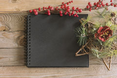 Christmas notebook mockup Stock Photography