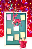 Christmas notice board with ornaments Stock Image