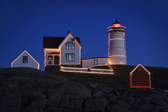 Christmas at Nubble Lighthouse Stock Images