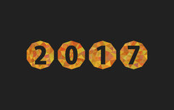 Christmas numbers 2017 New Year Christmas-tree balls polygonal. Gold on black Stock Photos