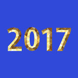 Christmas numbers for 2017 New Year polygonal gold on blue.  Stock Images