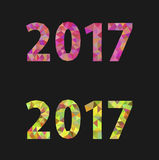 Christmas numbers for 2017 New Year polygonal set on black Stock Photo