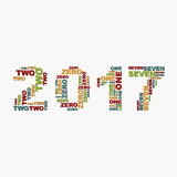 Christmas numbers for 2017 New Year of the words.  Royalty Free Stock Photos