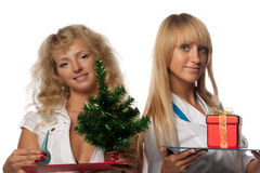 Christmas nurses Stock Images
