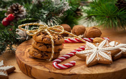Christmas nut and chocolate cookies Royalty Free Stock Image