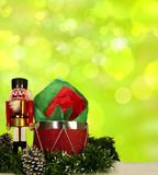 Christmas Nutcracker. Nutcracker with Christmas decorations and bokeh background Stock Photo
