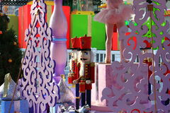 Christmas Nutcracker dolls in an outdoor display Royalty Free Stock Images