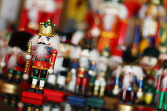 Christmas Nutcracker King in Front of Toy Soldiers Stock Images