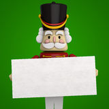 Christmas Nutcracker Soldier. Nutcracker with a blank board for custom message. Clipping path included Stock Image