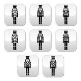Christmas nutcracker - soldier figurine grey buttons set. Vector modern buttons set of Xmas nutcrackers statues isolated on white Royalty Free Stock Photo