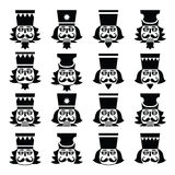 Christmas nutcracker - soldier figurine head black icons set. Vector icons set of Xmas nutcrackers heads isolated on white Royalty Free Stock Photography